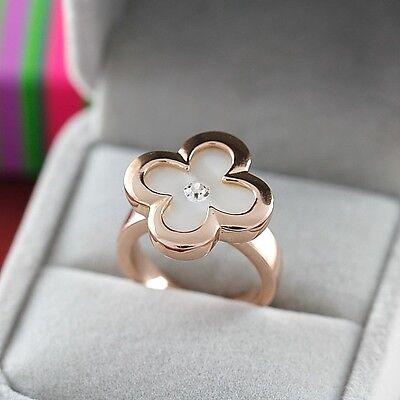 Hot '' 18K GP Rose Gold Crystal White Clover Ring Size :5.5 6 7 8 9