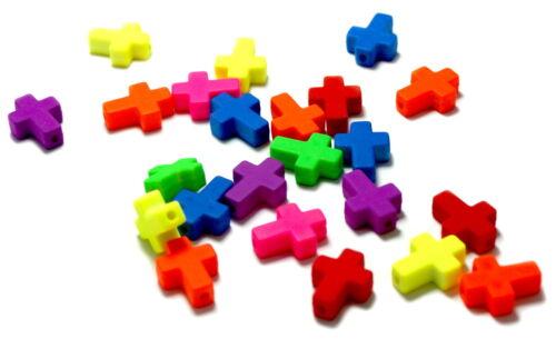 Kreativset-Perlen-Zubehör für Kinder Farbenfrohe Kreuz Perlen /Neonfarben 16*12mm /Kinder/ Baby/ Taufe/ Geburt/Ostern Kreativsets für Kinder