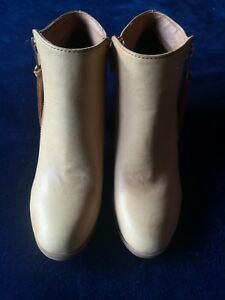 New-ladies-beige-ankle-zip-boots-size-5-Chinese