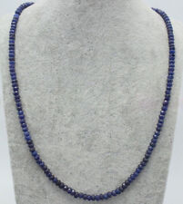 """2x4mm Faceted Blue Sapphire Handmade GEMSTONE Necklace 18"""""""