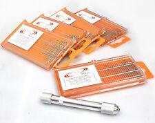 101pc Mini HSS Twist Micro-Drill Bits Set Index 61-80 w/Aluminum Hand Drill