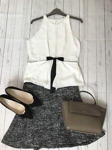 Zara-taglia-M-12-Bianco-Camicia-Canotta-in-vita-tagliati-con-baschina-in-buonissima-condizione