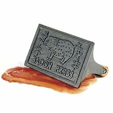 Norpro Cast Iron Bacon Grill Press Handle Wood Steak Grilled Sandwiches Meat NEW