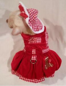 Dog-dress-harness-dress-set-dog-clothes-Gingerbread-Girl-XS-S-M-L-FREE-SHIP