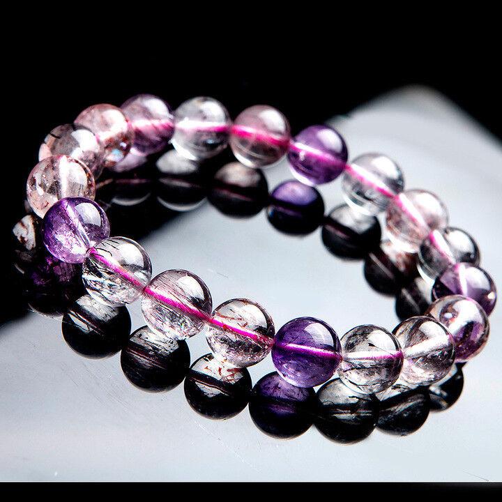 Genuine Natural Super Seven Melody Stone Women Femme Crystal Bracelet AAA 11mm