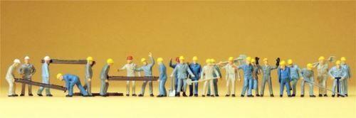 Preiser 14403 Gleisbauarbeiter mit Zubehör 24 Figuren HO NEU