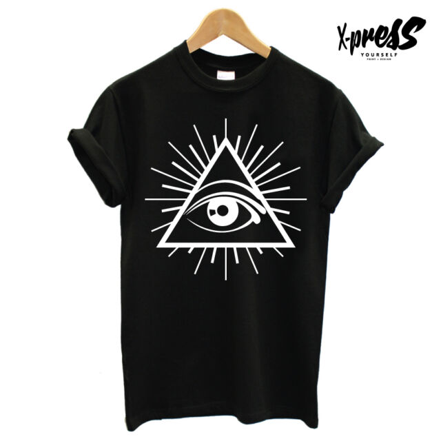 ALL SEEING EYE PRINTED MENS TSHIRT ILLUMINATI CONSPIRACY TEE INSTAGRAM SWAG CULT