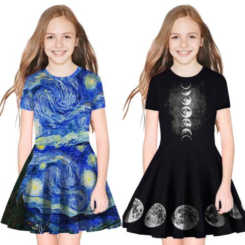 Kids Girls 3D Print Short Sleeve Swing Skater Dress Summer Party Pleated Dress