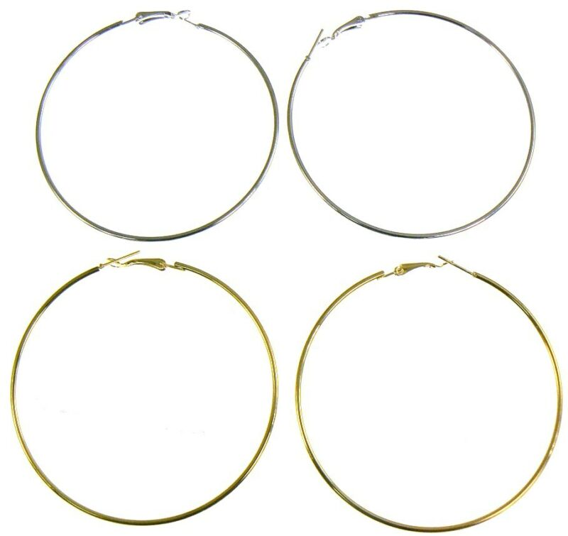 Large Thin Hoop Earrings Silver Or Gold With Various Size - 12cm/10cm/8cm/6cm