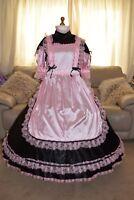 Amazing Long Black Satin Adult Sissy Maids Dress With Pink Apron Size Xxl