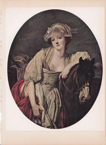 "1939 Vintage /""THE MILKMAID/"" by GREUZE LOVELY PORTRAIT Color Art Plate Lithograph"