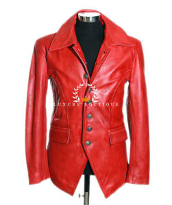 f46ba91f0938a Lucifer Red Men s Smart Gothic Style Real Lambskin Leather Blazer ...