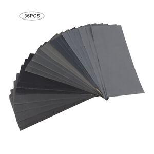 36Pièces Papier Abrasif Papier de Verre Sec à l'Eau Grain 400-3000 AssortimentSA