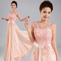 Fashion Pink Long Formal Evening Prom Party Dress Bridesmaid Dresses Ball Gown