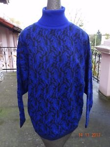 0d6ed6eddc2 Vtg 80 s Benetton Italy turtleneck sweater black blue NWOT horses ...