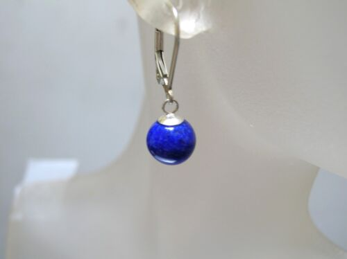 Top quality natural Lapis  8-8.5 mm ball sterling silver leverback earrings