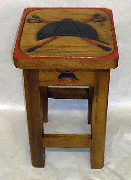 TABLES - RIDING HELMET &  CROSSED CROPS TABLE - HORSE - EQUESTRIAN DECOR  fast shipping to you