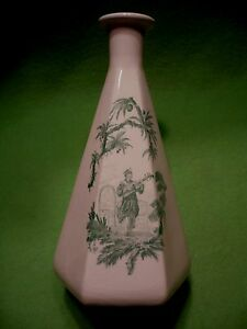 Vintage Asian / Chinese six sided hexagon vase with scene of musician & woman in