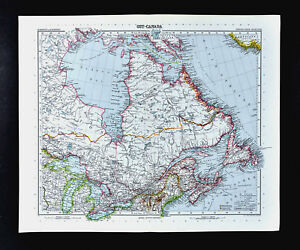 1911 Stieler Map Canada Ontario Quebec Nova Scotia Hudson