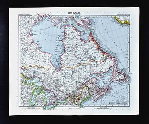 Map Of Canada With Lakes.1911 Stieler Map Canada Ontario Quebec Nova Scotia Hudson Bay Great