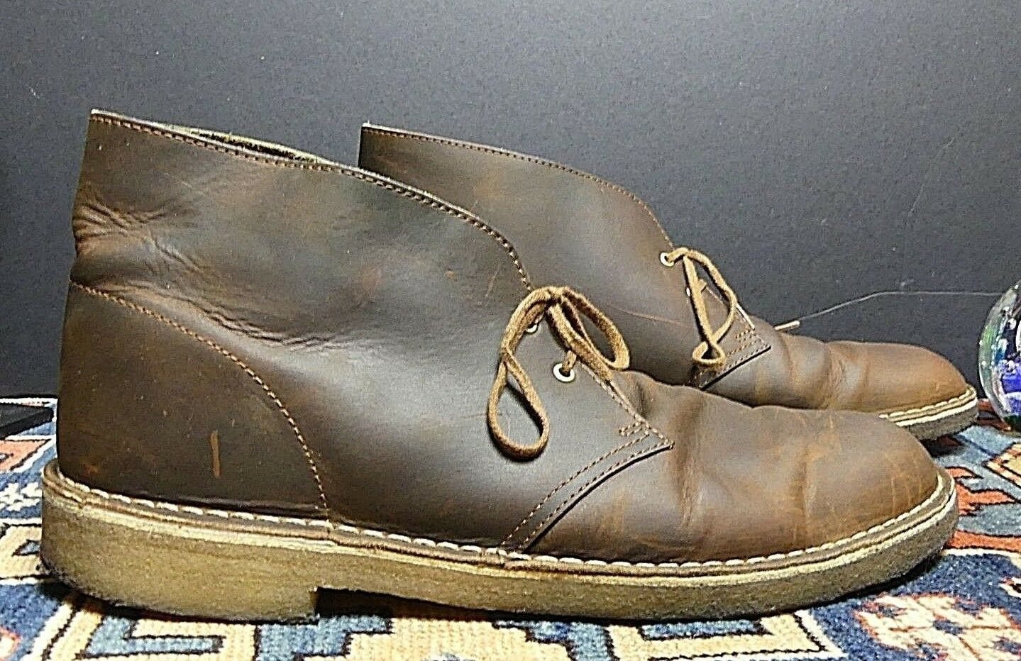 Men's Clarks Classic Brown Oiled Leather Chukka Boot Sz. 12M Excellent
