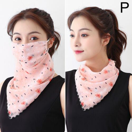 Reusable Women Hanging Ear Scarf Face Cover Windproof Chiffon Sun proof Anti-UV