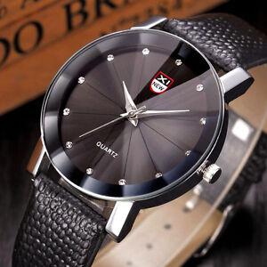 Herren-Business-Uhren-Kristall-Edelstahl-Leder-Analog-Quartz-Mode-Armbanduhren
