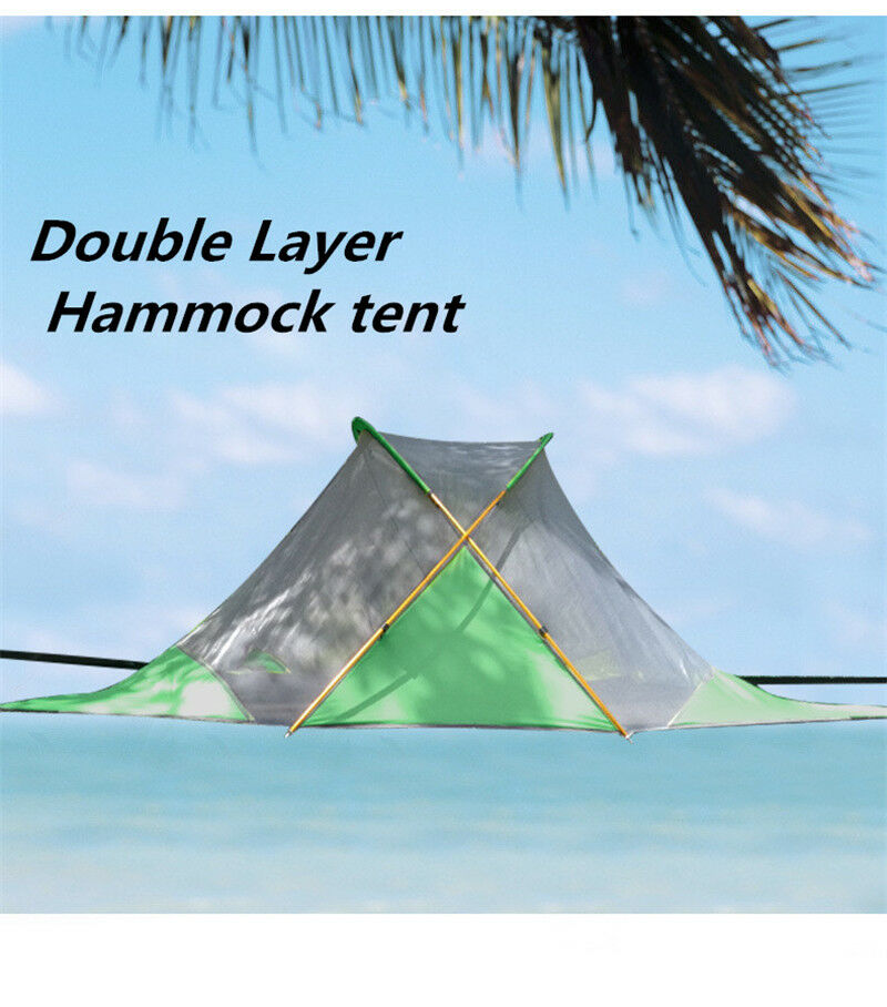 campeggio doppio Layer Hammock SafetyHanging Tree House Tent Quadrangle Suspension