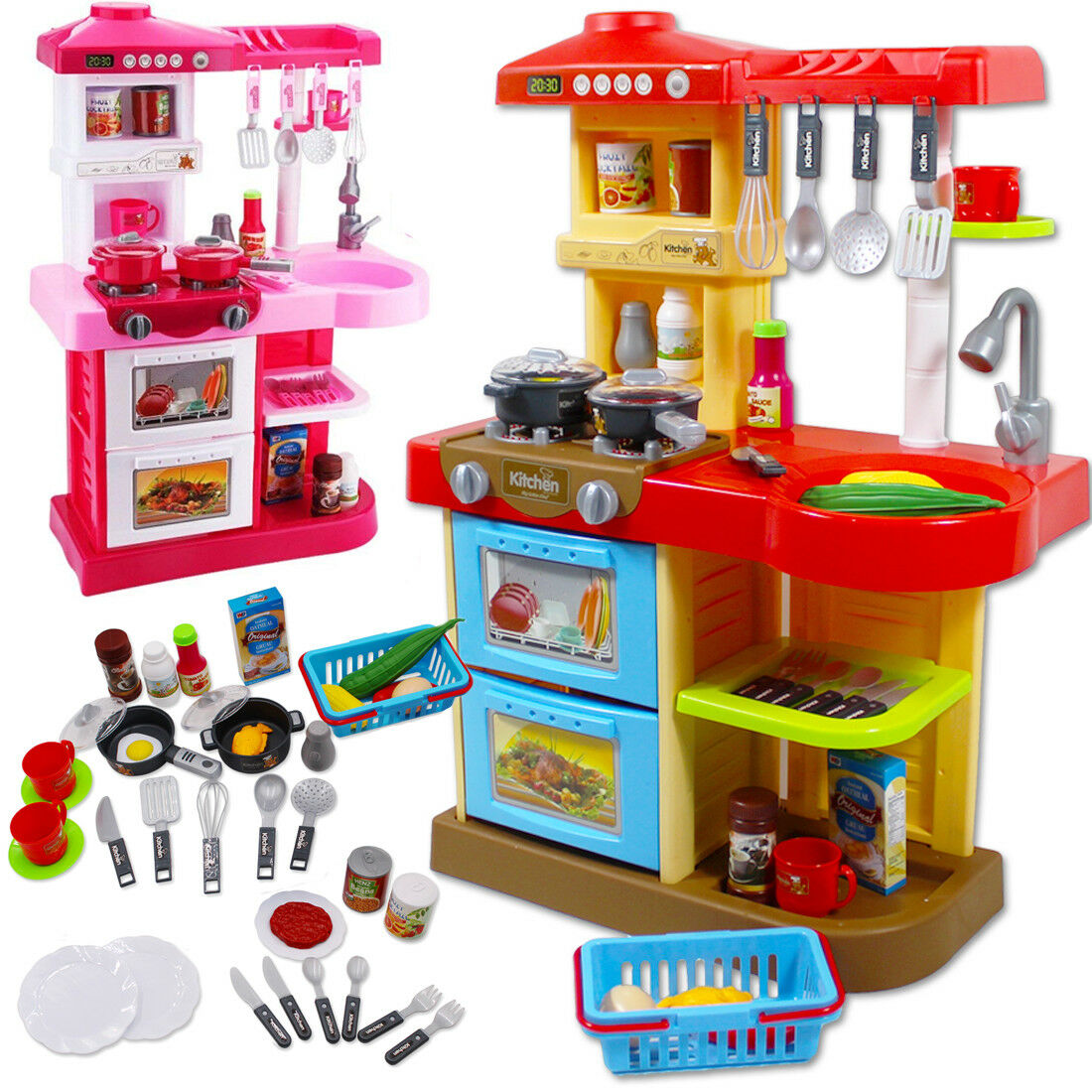 DeAO Toddler Kitchen Playset Little Chef With 30 Accessories Role Playing Game