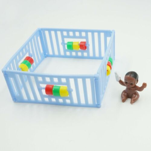 Blue Playpen with Black Baby Cake Topper Vintage Style Baby Shower Party Decor
