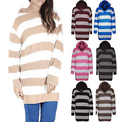 Womens Chunky Block Stripes Chunky Knitted Ladies Hoodie Hooded Jumper Dress Top Novel (In) Design;