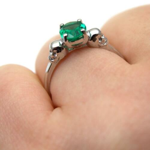Skull Ring Silver 1.4ct Emerald Diamond-Unique Hand Crafted  Engagement Ring
