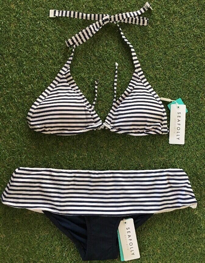 New Seafolly Riviera Stripe Indigo Slide Tri & Skirted Skirted Skirted Pant - Size AU10   US6 f9d640