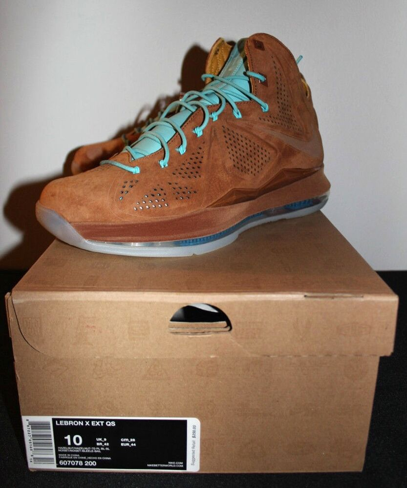 Nike Air Lebron X 10 EXT Hazelnut Suede Bleu Sneakers homme Taille 10 Brand New