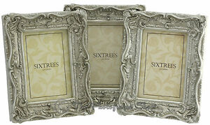 THREE-Shabby-amp-Chic-Vintage-Ornate-Antique-Silver-Photo-frames-6-034-x4-034-Picture