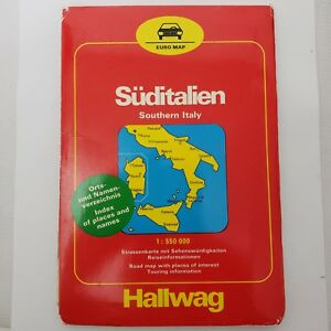 Road Map Of Southern Italy.Details About Road Map Southern Italy Euro Map 1986 Large Wall Size With Index Vintage