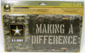 Making A Difference United States U.S. Army Metal License Plate Car Truck Tag