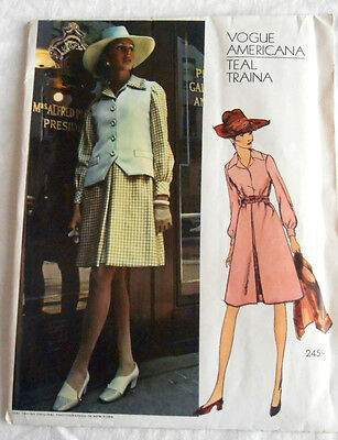 1970's Vogue Americana Pattern 2459 Teal Traina Misses' Dress & Jacket Size 10