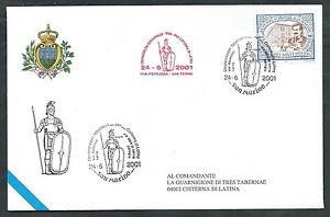 Strict 2001 San Marino Dispaccio Tabellario Ciserna Di Latina Timbro Arrivo - Rsm2001 Prix De Vente