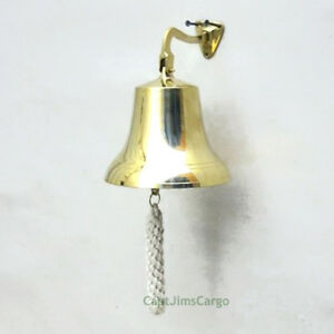 "Solid Cast Brass Ship's Bell 6"" Nautical Marine Doorbell Hanging Wall Decor New"