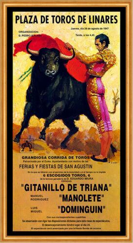 Plaza de Toros de Linares Torero Manolete Dominguin Fiesta Plakat A3 239 Gerahmt