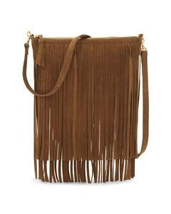 NEW-Chico-039-s-Frangetta-Fringe-Bag-Brown-Suede-Leather-Shoulder-Strap-NWT-99