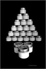 Set 24 Magnetic White Steel 2.5oz Kitchen Spice Home Organization Bottle Jars