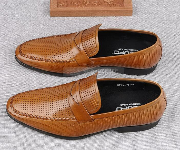 British Mens Pointy Toe Slip On Leather Loafers Formal Pumps Business Leather On Shoes Chic 9494f3