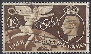 "Great Britain Stamp - Scott #274/A116 1sh Dark Brown ""Olympics"" Canc/LH 1948"