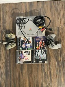 Original Sony PlayStation 1 Console With Cables + 2 Controllers + 4 Games TESTED