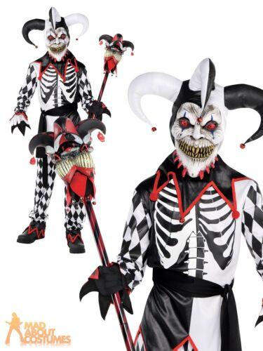 Boys Sinister Jester Costume Halloween Kids Evil Clown Fancy Dress Outfit Child