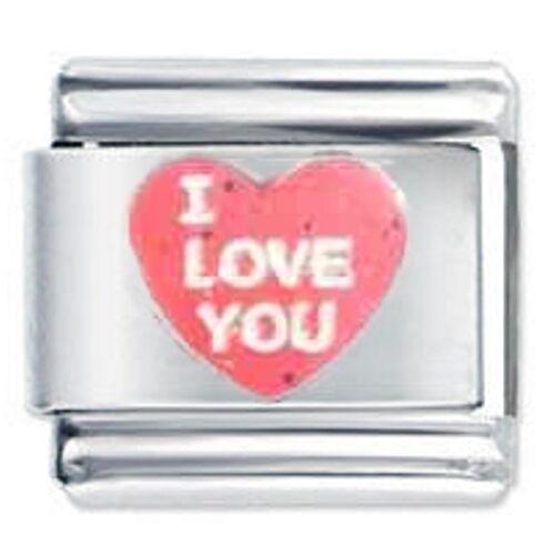 Daisy Charm For 9mm Italian Modular charm bracelets I Love You Heart