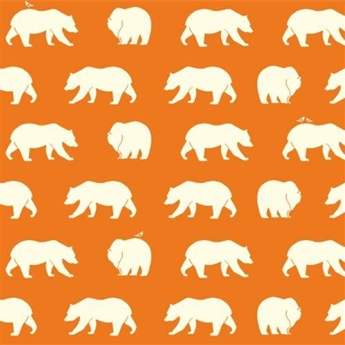 1//2 Yard Bear Hike Orange 100/% Organic Cotton Fabric Birch Fabrics Bear Camp