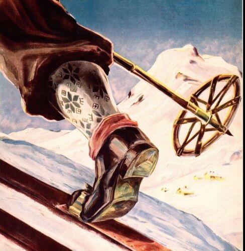 Ski Norway 1935 Home Of Skiing Vintage Poster Print Winter Sports Snow Retro Art
